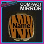 TIGER PRINT WITH PERSONALISED NAME GIFT COMPACT LADIES METAL HANDBAG MIRROR